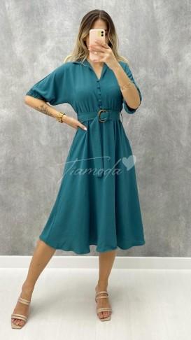 Yakası Kopseli Elbise - Petrol Mavi