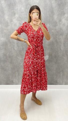 Düğme Detay Çiçekli Elbise