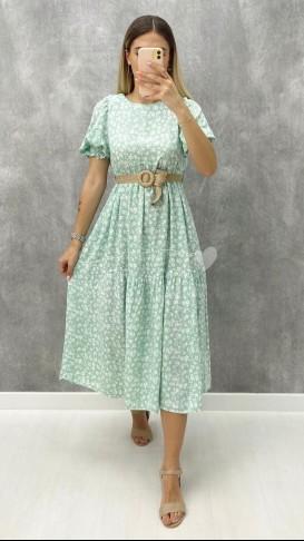 Hasır Kemerli Viskon Elbise - Mint Yeşil