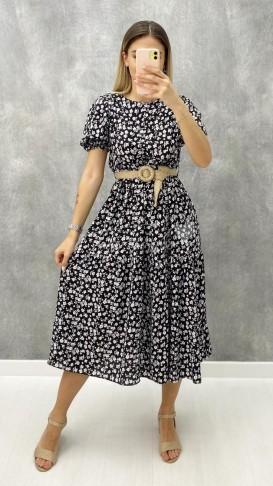 Hasır Kemerli Viskon Elbise - Siyah