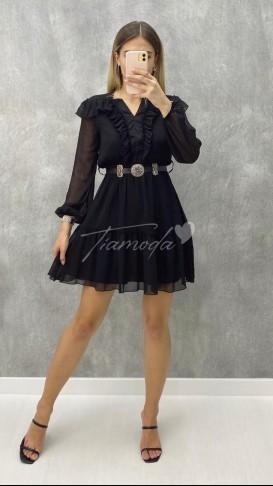 Yaka Fırfır Kemerli Elbise - Siyah