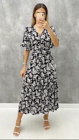 Yaprak Desen Düğme Detaylı Elbise - Siyah