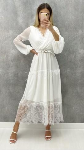 Dantel Detaylı Kruvaze Elbise - Beyaz