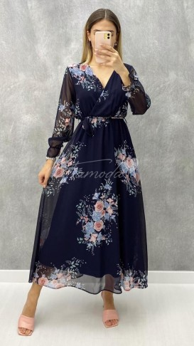 Çiçek Desen Maksi Sifon Elbise - Lacivert