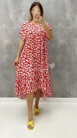Eteği Asimetrik Viskon Elbise - Kırmızı