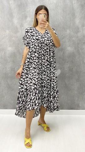 Eteği Asimetrik Viskon Elbise - Siyah