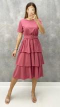 Katlı Penye Elbise - Pembe