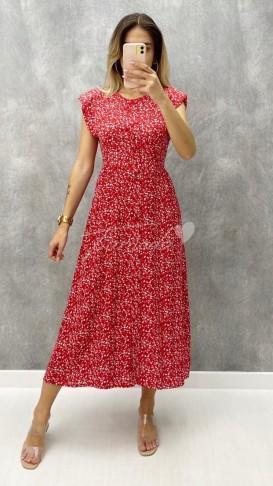Omuz Vatkalı Viskon Elbise - Kırmızı