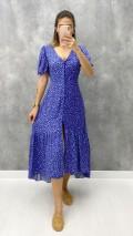 Minik Papatyalı Düğmeli Elbise - Mavi