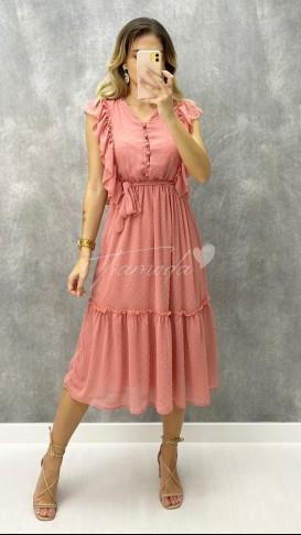 Fırfırlı Düğme Detay Elbise - Pudra