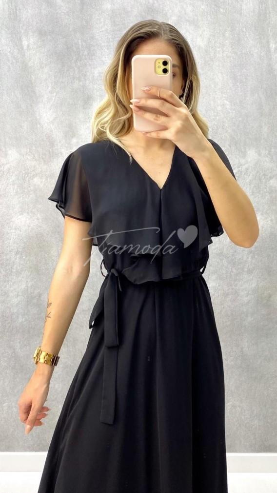 V Yaka Maksi Şifon Elbise - Siyah