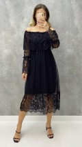 Dantelli Carmen Yaka Elbise - Siyah