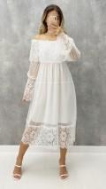 Dantelli Carmen Yaka Elbise - Beyaz
