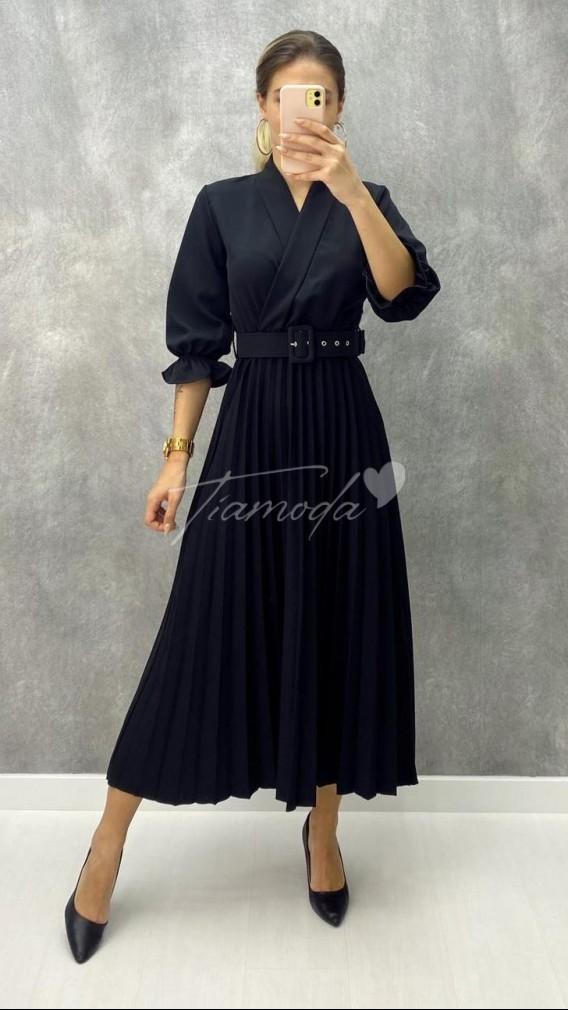 Kruvaze Pileli Elbise - Siyah