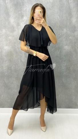 V Yaka Kuşaklı Şifon Elbise - Siyah
