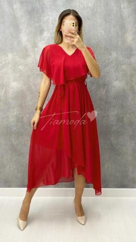 V Yaka Kuşaklı Şifon Elbise - Kırmızı