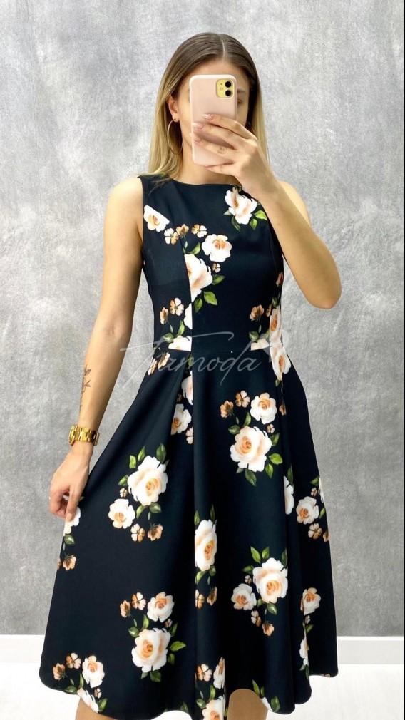 Atlas Kumaş Çiçekli Elbise
