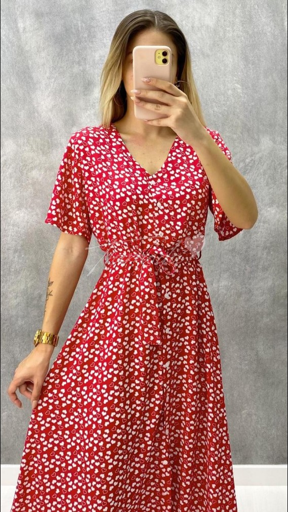 Kalp Desen Elbise - Kırmızı