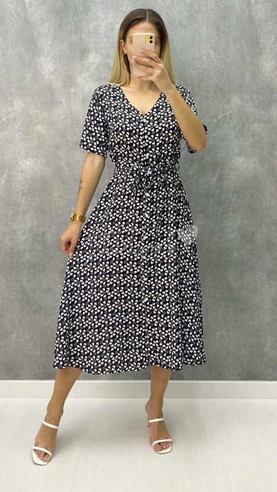Kalp Desen Elbise - Siyah