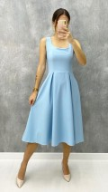 Kare Yaka Atlas Kumaş Elbise - Bebe Mavi