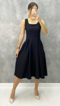 Kare Yaka Atlas Kumaş Elbise - Siyah