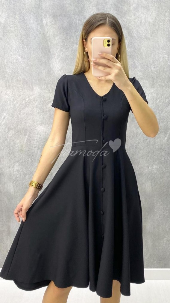 Atlas Kumaş Kloş Elbise - Siyah