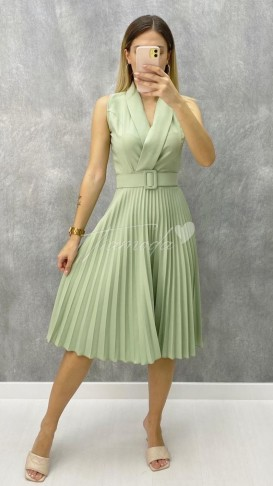 Pileli Kolsuz Elbise - Mint