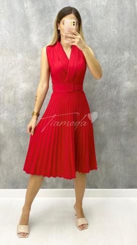 Pileli Kolsuz Elbise - Kırmızı