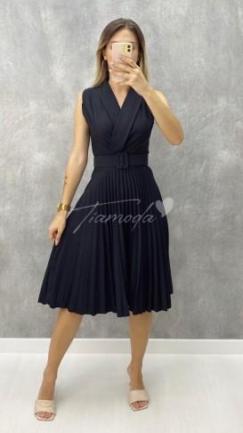 Pileli Kolsuz Elbise - Siyah