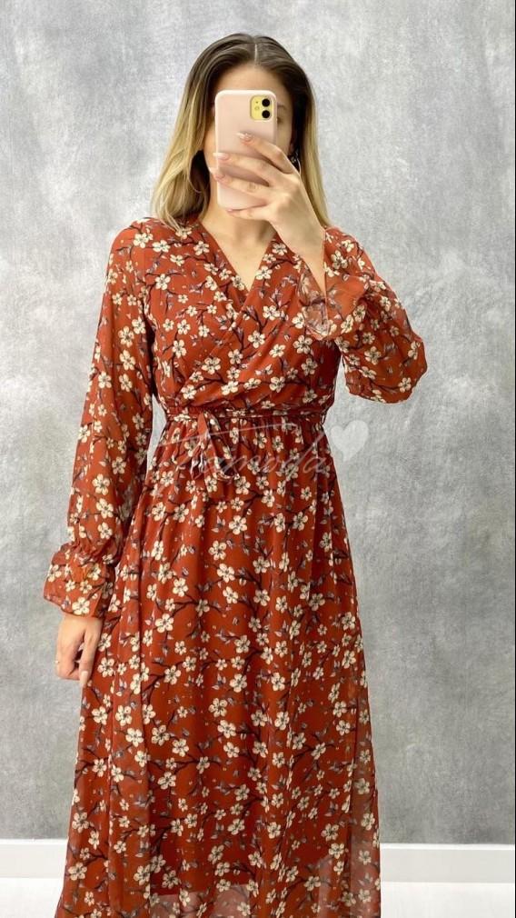Kruvaze Yaka Çiçek Dalı Elbise - Kiremit