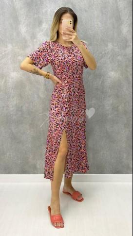 Kısa Kol Çiçekli Midi Elbise