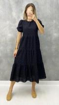 Karpuz Kol Fistolu Elbise - Siyah