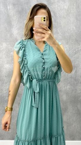 Fırfırlı Düğme Detay Elbise - Mint Yeşil