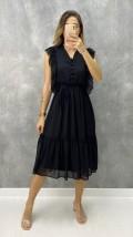 Fırfırlı Düğme Detay Elbise - Siyah