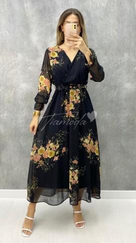 Çiçek Desen Maksi Sifon Elbise - Siyah