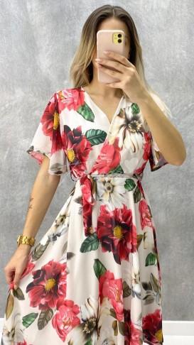 Büyük Çiçekli Midi Şifon Elbise