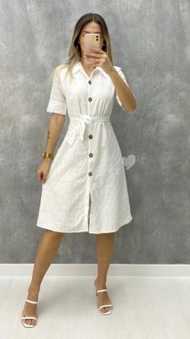 Kısa Kol Fistolu Elbise - Beyaz