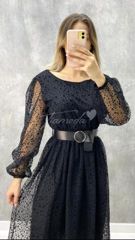 Kadife Puantiyeli Elbise - Siyah