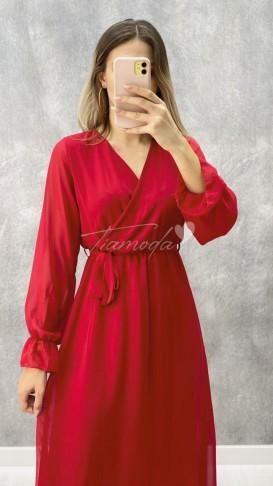 Maksi Şifon Elbise - Kırmızı