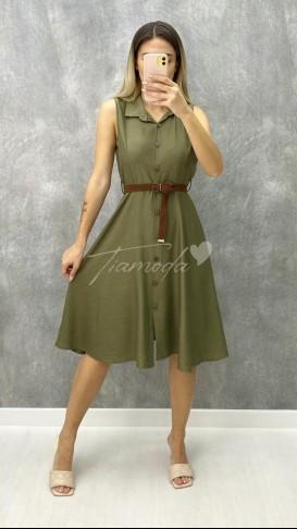 Kemerli Kolsuz Elbise - Haki