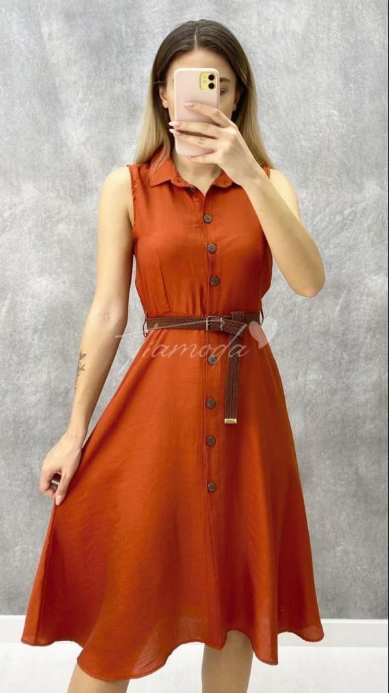 Kemerli Kolsuz Elbise - Kiremit