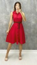 Kemerli Kolsuz Elbise - Kırmızı