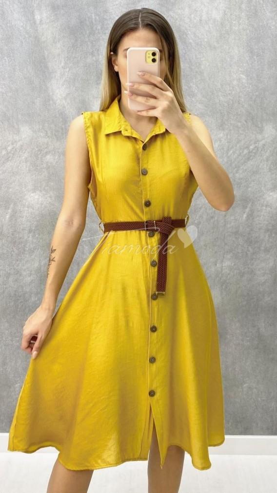 Kemerli Kolsuz Elbise - Hardal