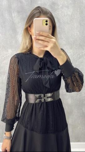 Kemerli Dantel Elbise - Siyah