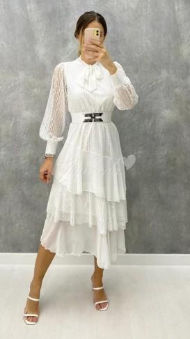 Kemerli Dantel Elbise - Beyaz