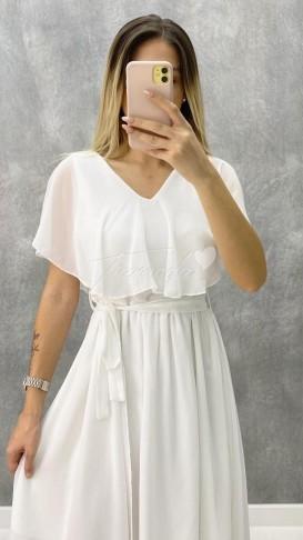 V Yaka Kuşaklı Şifon Elbise - Beyaz