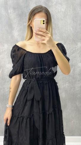 Madonna Yaka Şifon Elbise - Siyah