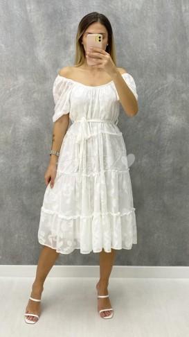 Madonna Yaka Şifon Elbise - Beyaz