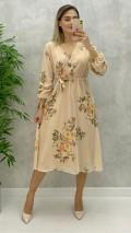 Çiçekli Midi Boy Şifon Elbise - Krem