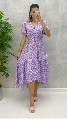 Kemerli Düğme Detay Elbise - Lila